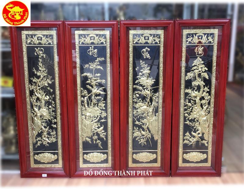 Hướng dẫn chi tiết cách treo tranh tứ quý phủ vàng ròng cao cấp